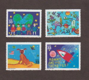 US,3414-17,KIDS SPACE POSTERS,COMPLETE SET,2000'S COLLECTION,MINT NH VF