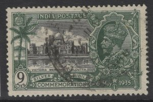 INDIA SG241 1935 9p SILVER JUBILEE LEFT USED