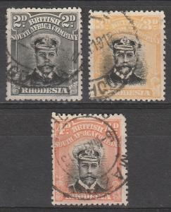 RHODESIA 1913 KGV ADMIRAL 2D 3D AND 4D DIE II PERF 14 USED