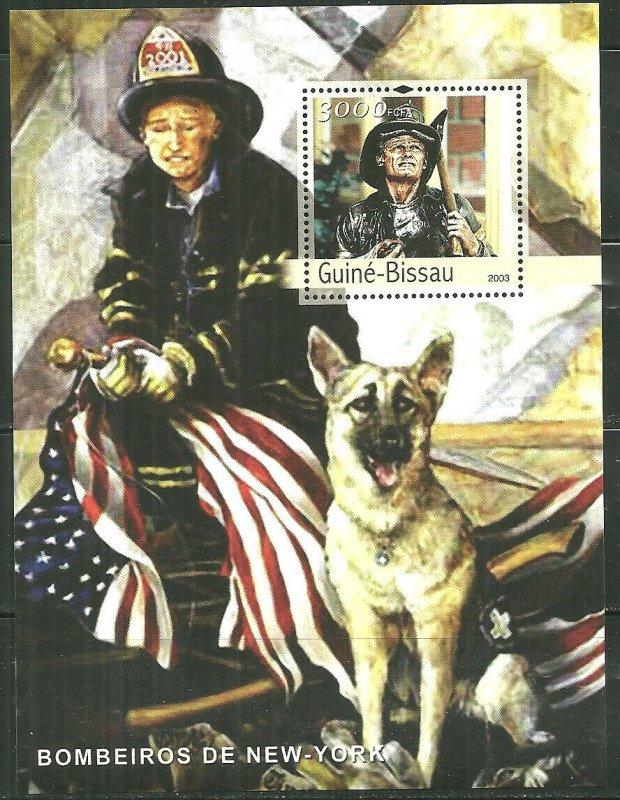 Guinea-Bissau MNH S/S NYFD Fireman & Dog 9-11 2003