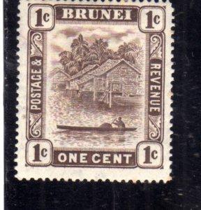 BRUNEI 1924 1937 1926 SCENE ON BRUNEI RIVER CENT. 1c MLH