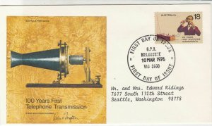 Australia 1976 100 Years First Telephone Transmission FDC Stamps Cover Ref 29017