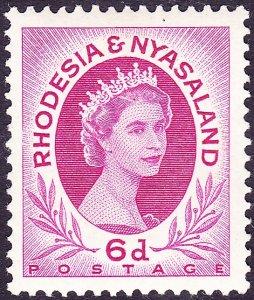 RHODESIA & NYASALAND 1954 QEII 6d Bright Reddish Purple SG7 MH