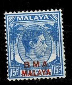 STRAITS SETTLEMENTS :1947 15c blue opt B.M.A./MALAYA SG 15b MNH