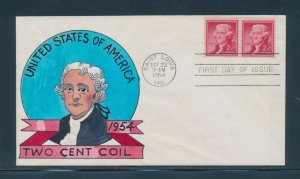 #1055 2c JEFFERSON ON W.N. WRIGHT HANDPAINTED FDC CACHET OCT 22,1954 BU9891