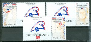 NEW CALEDONIA FRENCH REVOLUTION #613-615 SET WITH TABS...MNH...$8.25
