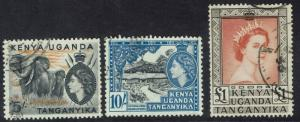 KENYA UGANDA & TANGANYIKA 1954 QEII PICTORIAL 5/- 10/- AND 1 POUND USED TOP3 VAL
