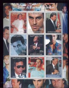 JULIO & ENRIQUE IGLESIAS - Mini Sheet of 9 MNH Kyrgyzstan - E29
