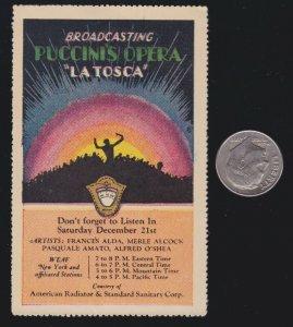US Vintage Radio Broadcast Puccini's Opera La Tosca Cinderella Stamp (L89)