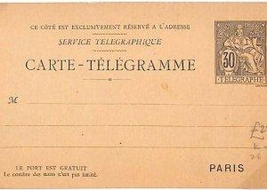 FRANCE Unused Stationery 30c TELEGRAM CARD Telegraph {samwells-covers}C143