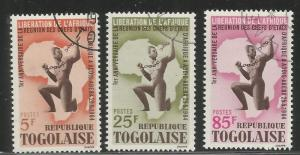 TOGO 483-485 USED, AFRICAN BREAKING SLAVERY CHAIN