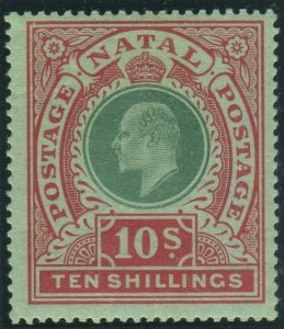NATAL-1908-9 10/- Green & Red/Green.  A lightly mounted mint example Sg 170
