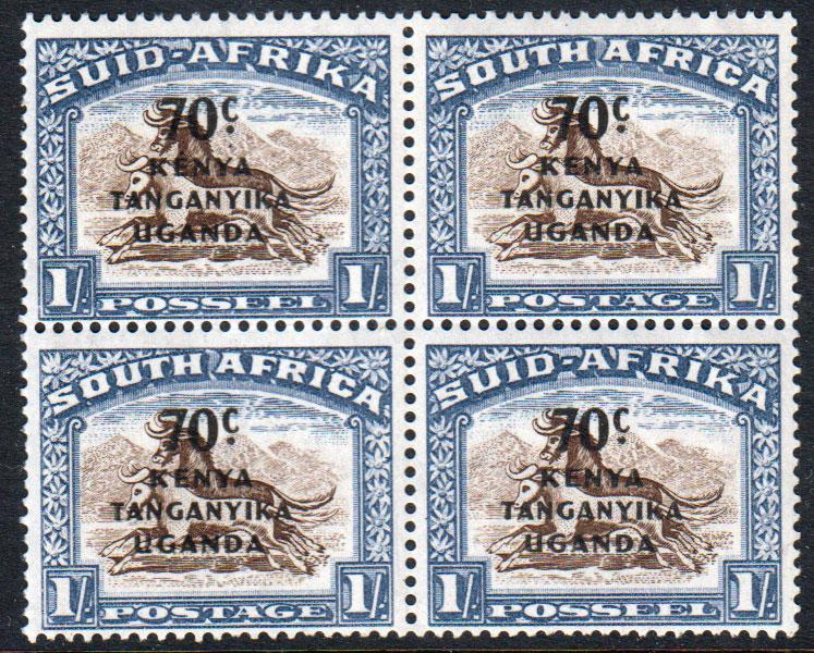 KUT KGVI 1941 70c on 1s Brown Chalky Blue Block SG154 Mint Never Hinged MNH UMM