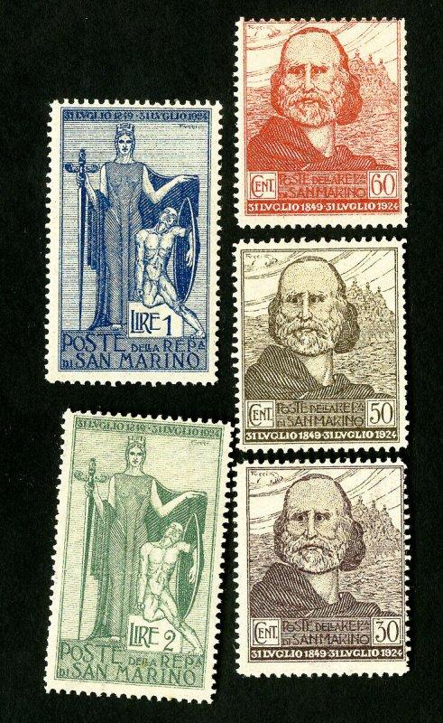 San Marino Stamps # 84-8 VF OG H Scott Value $32.50