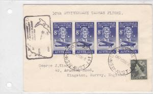 australia 1958 tasman flight stamps cover ref r15282