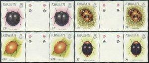 Kiribati 607-610 gutter pairs,MNH.Michel 607-610. Insects 1993.