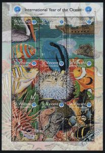 St Vincent 2604 MNH Marine Life, Fish, Coral, Birds, Ship, Year of the Ocean