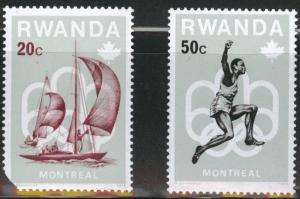 RWANDA Scott 738 & 740 MH* Olympic stamps