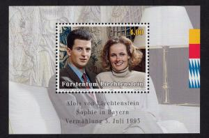 Liechtenstein  #1005   1993  MNH  marriage prince and dutchess  sheet