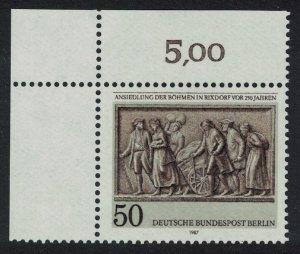 Berlin 250th Anniversary of Bohemian Settlement Rixdorf Top Left Corners SG#B769