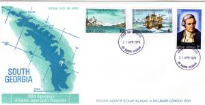 South Georgia 1975 James Cook Ship set (3) Scott 41/43 in official FDC