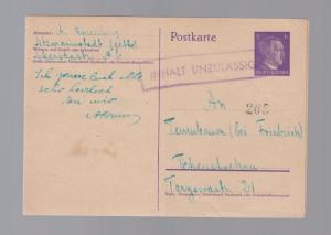 1940s Litzmanstadt to Tschenstochau Poland Ghetto Postcard Censored Cover