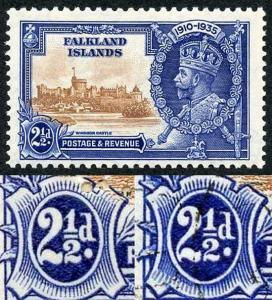 Falkland Islands 1935 Silver Jubilee 2 1/2d Re-entry on value tablet M/M