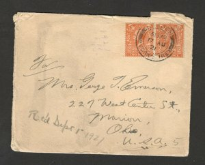 GREAT BRITAIN TO USA- LETTER WELILINGTON HOTEL HOWDEN-1921.