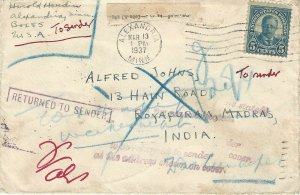 U.S., 1937 Cover Sent to Madras, India, Returned to Sender 13 + Postal Markings