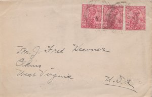 India 1a KGV (3) 1922 Lucknow to Elkins, W. Va. Creases.