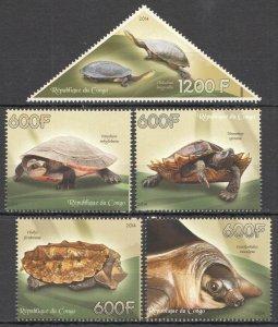 C1182 2014 CONGO TURTLES MARINE LIFE REPTILES FAUNA 1SET MNH
