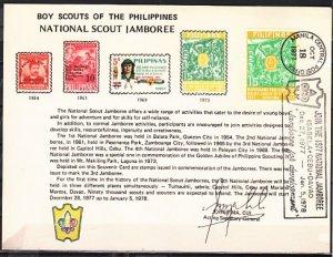 Philippines, Scott cat. 1222. National Jamboree cancel on a Souvenir Card. ^