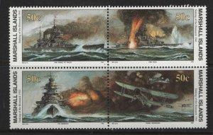 MARSHALL ISLANDS, 281A, BLOCK OF 4, MNH, 1990-91, BATTLE SCENES