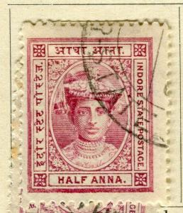 INDIA; INDORE-HOLKAR 1904 early local issue fine used 1/2a. value