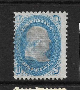 US 1861-66  1c  FRANKLIN    MLH  GRILL  Sc 92