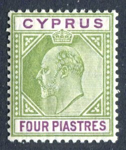 Cyprus 1904 KEVII. 4pi olive green & purple. Mint. VLH. MC CA. SG66.