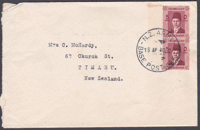 NEW ZEALAND FORCES IN EGYPT 1940 censor cover NZ ARMY BASE POST OFFICE.......843