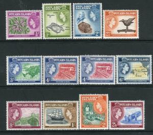 PITCAIRN ISLANDS-1957-63 set to 2/6 Sg 18-28 LIGHTLY MOUNTED MINT V22125