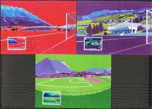 Liechtenstein 1982 Football Soccer FIFA World Cup Spain -82 3 Maxi Cards FDC