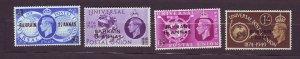 J23614 JLstamps 1949 bahrain mlh set #68-71 upu ovpt,s