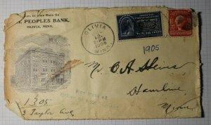 US Sc# E4 or E5 Used On Ad Cover 1905 Olivia MN Cancel People's Bank RPO STP