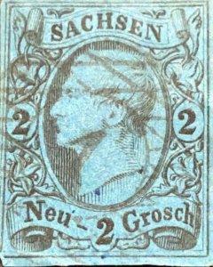 O) 1855 SAXONY, GERMAN STATE, KING JOHN I, 2ng SCT 11a black blue