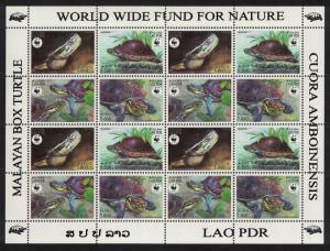 Laos WWF Malayan Box Turtle Sheetlet of 4 sets SC#1625 a-d MI#1927-1930