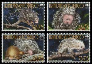 Trinidad and Tobago WWF Brazilian Porcupine 4v MI#955-958 SC#840a-d