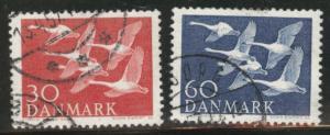 DENMARK  Scott 361-362 1956  Swans in flight set