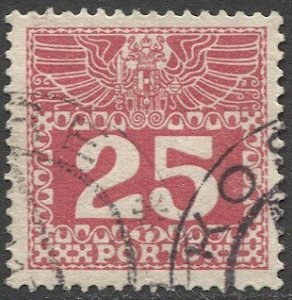 AUSTRIA 1910 25h VF Sc J41 Used Postage Due, part Cancel, cv $6.60