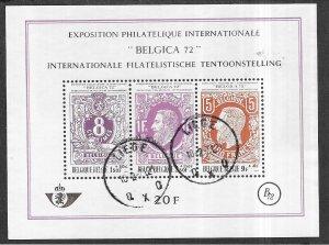 Belgium #B863  Belbica 72  Souvenier Sheet  (U) 1st day cancel CV$4.75