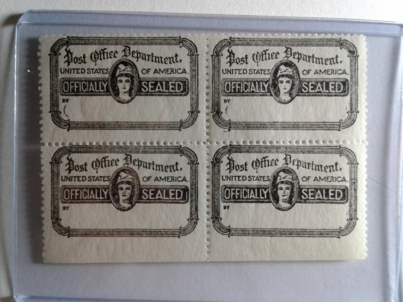 SCOTT # OX21 OFFICIAL POST OFFICE SEAL BLOCK OF 4