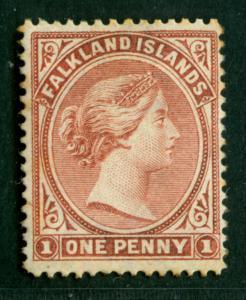 FALKLAND ISLANDS  1886  VICTORIA  1p claret  Scott # 7 MINT MH