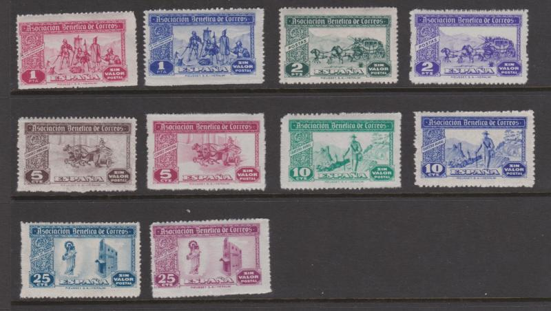 Spain 1944 Civil War Fund Raising Cinderellas x 10 MNH